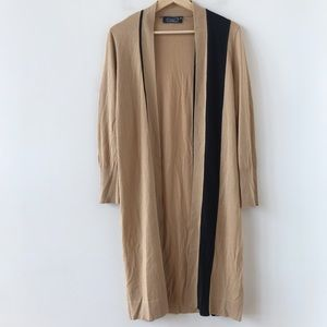 Magashoni tan and black silk & cashmere duster